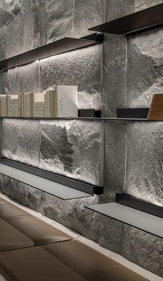 Contemporary Interior Design, Office Interior Design, Interior Exterior, Office Interiors, Interior Architecture, Shelving Design, Shelf Design, Tropical Interior, Showroom Design