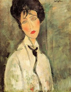 "Modigliani, Amedeo – ""Ritratto di donna con cravatta nera"" (1917)  In the beautiful of portraits of Modigliani, ""Portrait of a woman with black tie"" occupies a special space for the wonderful efficacy achieved with maximum synthesis."