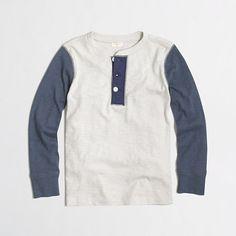 J.Crew Factory - Factory boys' long-sleeve contrast-sleeve henley