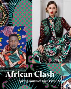 African Clash -Spring/Summer 2020 Print & Pattern Trend - Stylised florals and bold African patterns clash in bright colour combos for this vibrant Spring/Su - Latest Fashion Design, 2020 Fashion Trends, Spring Fashion Trends, Summer Trends, Fashion 2020, Fashion Ideas, Fashion Patterns, E21, Fashion Forecasting