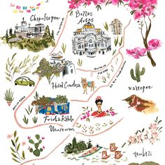 Mexico City wedding illustrated map by Jolly Edition - hobby garden info - City Illustration, Watercolor Illustration, Wedding Illustration, Mexico City Map, Watercolor City, City Drawing, Map Painting, Alice, Map Art