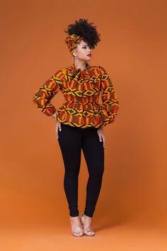 Toya African Print Peplum Top| Grass-fields| match it with a skirt or trousers