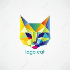 Cat Logo Vector Consisten En Triángulos De Colores. Vector Ilustración. Ilustraciones Vectoriales, Clip Art Vectorizado Libre De Derechos. Pic 17549464.