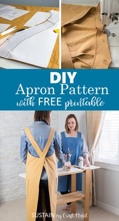 Versatile and Simple DIY Apron Pattern to Sew Learn how to sew your own utility aprons with this DIY apron pattern using cotton canvas from Canvas Etc. Includes simple step-by-step tutorial and free printable pattern template. Diy Sewing Projects, Sewing Projects For Beginners, Sewing Hacks, Sewing Tutorials, Sewing Basics, Sewing Aprons, Sewing Clothes, Diy Clothes, Sewing Terms