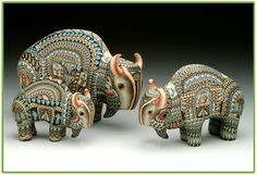 Buffalo - Fimo Creations by Jon Anderson Polymer Clay Kunst, Polymer Clay Sculptures, Polymer Clay Animals, Fimo Clay, Polymer Clay Projects, Sculpture Clay, Buffalo Animal, Buffalo Art, Clay Monsters