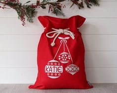 Personalised Santa Sack with Reindeer by HoneysuckleandLime