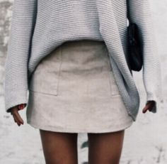 sweaters + suede mini skirts