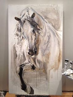 Gorgeous horse painting wall art, would be awesome painted on reclaimed wood or in the barn!
