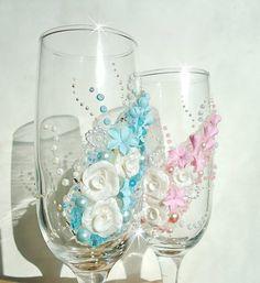 Champagner-Gläser Hochzeit Flöten von JoliefleurDeco auf Etsy