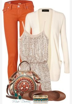 November game day layered outfit idea from Polyvore - must get a staple pair of burnt orange leggings for the wardrobe!