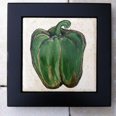 Green Pepper Still Life Painting on Tile Framed by FarinellaDesigns on Etsy