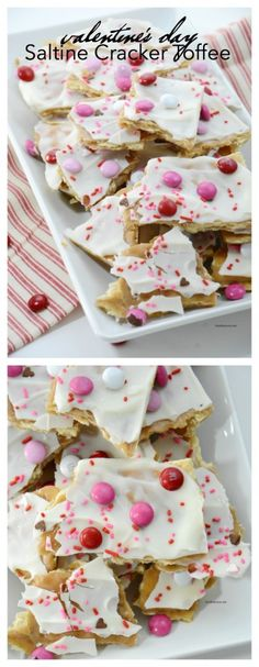 A twist on the tasty and popular Saltine Cracker Toffee perfect for Valentine's Day. Great Valentine's Day Treat or gift idea. A twist on the tasty and popular Saltine Cracker Toffee perfect for Valentine's Day. Great Valentine's Day Treat or gift idea. Valentine Desserts, Valentines Day Treats, Mini Desserts, Kids Valentines, Valentine Party, Valentine Dinner Ideas, Valentines Baking, Easter Treats, Funny Valentine
