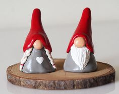 Gnome figurines - Two Christmas gnomes - Christmas decorations - Nordic Christmas - Scandinavian decor - Tomte - Clay gnomes - Scandi decor nostalgic christmas decorations, kids christmas ornament crafts, christmas cake decorations ideas Christmas Gnome, Handmade Christmas, Christmas Crafts, Christmas Figurines, Christmas Tables, Christmas Holidays, Christmas Ornaments, Scandinavian Gnomes, Scandinavian Christmas
