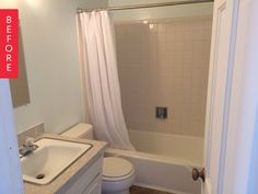 Before & After: A Small & Basic Bathroom Blossoms Into a Black & White Beauty