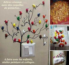 Découvrez ce que l'on peut faire avec des coques de pistaches.. Avant de jeter vos coquilles de pistaches vides, voyez ce que l'on peut faire avec, plein de jolies choses. De belles fleurs, des artichauts décoratifs, des tableaux naturels, des oiseaux de toutes les couleurs, de l'ornement d...