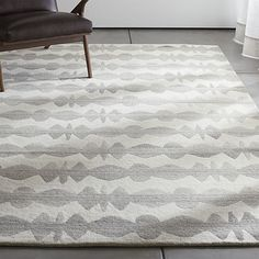 Graphite Neutral Striped Wool Rug | Crate and Barrel