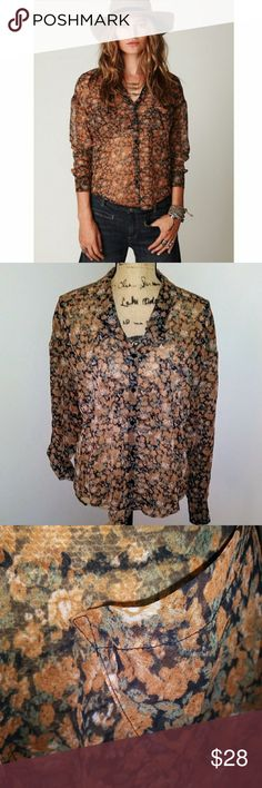 Free People sheer floral blouse top Size Small Length - 27 inches Chest -19 inches (measured flat)  Free People sheer floral hi-lo blouse top Size Small. Convertible sleeve.   Don't leave this behind. Add it to your bundle ASAP ♡  Photos are the description of this item. Any flaws will be noted.Otherwise article is in excellent condition. Anthropologie Tops Button Down Shirts