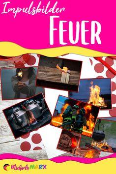 """Diese Impulskarten und Impulsfragen helfen beim Einstieg in das Thema """"Feuer"""".   Die Schüler sehen auf den Bildern verschiedene Gegenstände rund um das Feuer. Vieles kennen sie bereits und somit kann sich ein Gespräch entwickeln.  Verschiedene Fragen auf Kärtchen ergänzen das Unterrichtsmaterial über Feuer. Man kann sie als Einstieg verwenden oder als Stop"""
