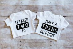 Twins Bodysuit baby shirt one piece It takes two by AdsAndMarnieCo