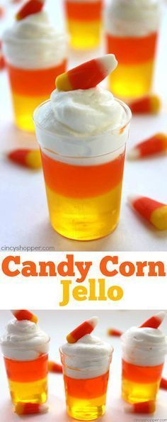Jello Candy Corn Jello - Super fun and easy Jell-O dessert for fall and Halloween treat.Candy Corn Jello - Super fun and easy Jell-O dessert for fall and Halloween treat. Halloween Goodies, Halloween Food For Party, Halloween Birthday, Spooky Halloween, Healthy Halloween, Halloween Decorations, Halloween Drinks Kids, Halloween Jello Shots, Halloween Baking