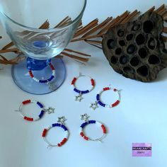 6 Independence day glass charms party favors for guests, of July party favours hostess gifts wine glass rings native Americans gifts. Party Favours, Party Gifts, Etsy Handmade, Handmade Gifts, Handmade Accessories, Handmade Jewelry, Bachelorette Gifts, Patriotic Crafts, July Crafts