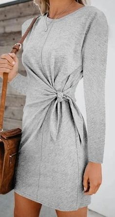 Descriptions: Sleeve Length:Long Sleeve Size: S,M, L, Style: Daily, Vacation Tops Length: Dress Pattern: Solid Material: Polyester, Cotton Season: Spr Classy Outfits, Beautiful Outfits, Cool Outfits, Casual Outfits, Simple Dresses, Casual Dresses, Fashion Dresses, Clothing Patterns, Womens Fashion