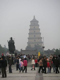 Great Goose Pagoda in Xi'an, China; built with the permission of the emperor by Xuan Zhang during the Tang dynasty, at which point Xi'an was the capital of the empire, on his return from India along the Silk Road