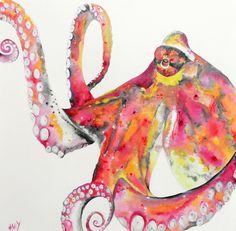 octopus,octopus painting,octopus portrait,nautical,ocean,custom portrait, pet, animal, pet, watercolor octopus, octopus art