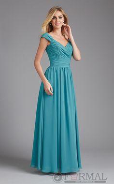 V-Neck Long Chiffon Formal Evening Dress -BDFORMAL-1043