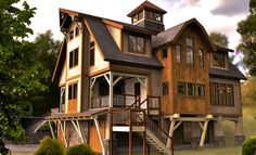 This is new construction, but a great example of what could be created from an antique barn.  You just can't replicate the hand-carved beams today.