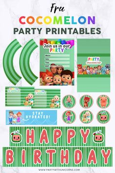 A set of Cocomelon party printables including party invitations, a birthday banner, labels, thank-you cards, and more. This set is perfect for a Cocomelon birthday party and it's free to download. Printable Banner, Free Printable Party, Party Printables, Free Printables, Birthday Invitation Templates, Party Invitations, Party Favors, Birthday Party Games For Kids, Birthday Party Themes