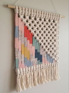 Woven macrame wall hanging multi-coloured by KateAndFeather