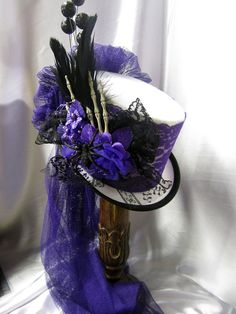 Halloween/Gothic Top hat/ riding hat white felt by JillieKatHats, $82.00