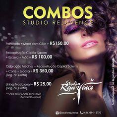 COMBOS STUDIO REJUVENCE @studiorejuvence Penteado  Make com Cílios = R$15000…