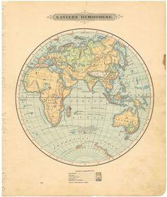 Vintage world map Antique world map print Old map of the world