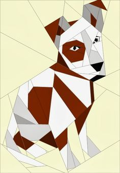 What a cute dog! Quilt Art Designs: FREE Patterns Today! #Paper piecing