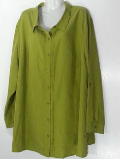 CATHERINES BUTTON DOWN TOP 3X 26-28 NEW PLUS SIZE BLOUSE SHIRT OLIVE GREEN TOP…