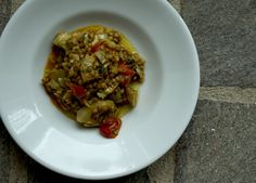 new season artichokes braised with umbrian lentils and a touch of tomato