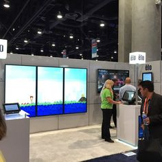 "Elotouch touch screen monitors at the #dse2015 showcasing  the new 10 point touch 70"" display #digitalsignage"