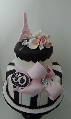 Paris Themed 50th Birthday Cake - Original design by Cakes by Roselyn.