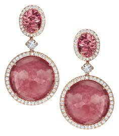 Cellini Jewelers Pink Sapphire Drop Earrings Round rose-cut and oval-cut pink sapphires are trimmed with brilliant diamond pavé