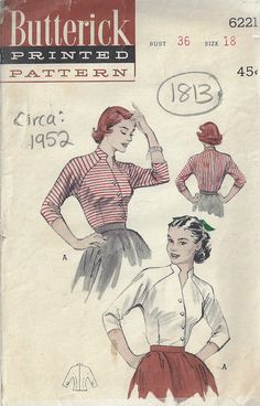 "1952 Vintage Sewing Pattern B36"" BLOUSE (1813) By Butterick 6221"