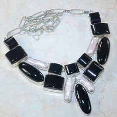 Gorgeous Necklace: Ebony & Ivory Goddess Statement Piece -Eveyone will admire this on you!