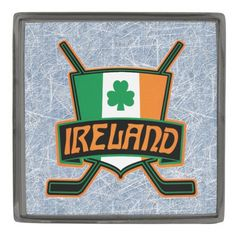 Ireland Ice Hockey Flag Logo Pin Badge.   Custom made stylish lapel pin, available in gunmetal, silver plated and gold plated finishes. The design is covered with a high shine resin dome. #HockeyPins