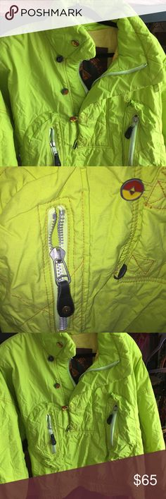"""Vintage """"FIRE AND ICE"""" Half Zip Ski Jacket Half Zip Pullover jacket. GUC. Lots of zippers and buttons zip Pockets. Faint staining from snow, can be washed out. Stretch waist. Large Dolan sleeves. Perfect for outdoor winter activities. Could also be used as a winter running jacket. FIRE AND ICE Jackets & Coats Ski & Snowboard"""