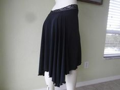 Argentine Tango  & Salsa Cascade Skirt Size 0 to 10 with stretch Waist stretchy Lace Milonga  Dancewear Gothic Burlesque