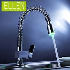 58.65$  Buy here - http://alious.worldwells.pw/go.php?t=2018075612 - solid brass pull out kitchen faucet led light water tap single handle kitchen mixer pull down for kitchen 58.65$