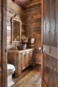 Western bathrooms, rustic bathrooms, log cabin bathrooms, cabin homes, log Rustic Bathroom Designs, Rustic Bathroom Vanities, Rustic Home Design, Rustic Bathroom Decor, Bathroom Layout, Modern Bathroom, Bathroom Ideas, Bathroom Cabinets, Small Bathroom