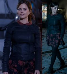 Clara's red and black floral dress with asymmetric denim jacket on Doctor Who.  Outfit details: http://wornontv.net/16129/