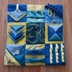 Heres my latest sensory fidget blanket which will be available on my Etsy store Dementia Crafts, Alzheimers Activities, Fabric Crafts, Sewing Crafts, Sewing Projects, Lap Blanket, Weighted Blanket, Sensory Blanket, Fidget Blankets